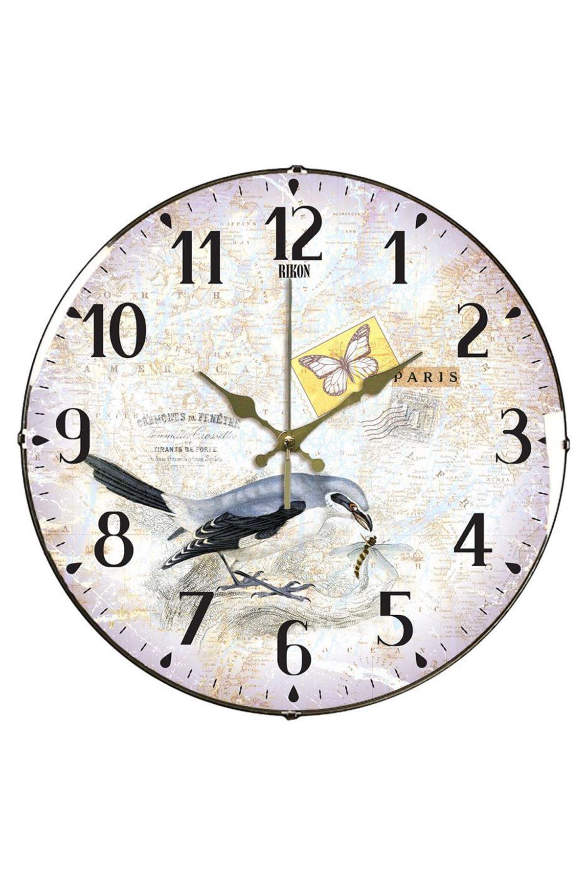 Rikon Kuş Desenli Dekoratif Bombe Camlı Duvar Saat
