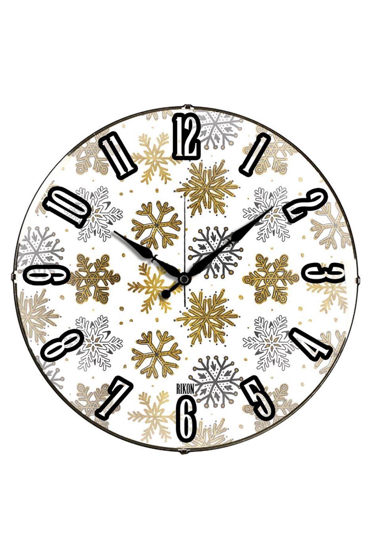 Rikon Kar Taneleri Dekoratif Bombe Camlı Duvar Saati