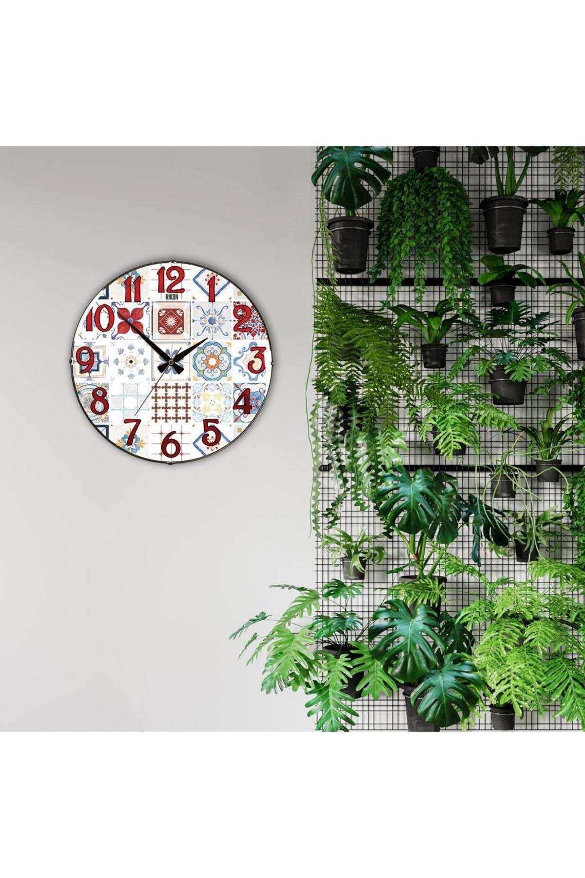 Rikon Çoklu Desenler Dekoratif Bombe Camlı Duvar Saati