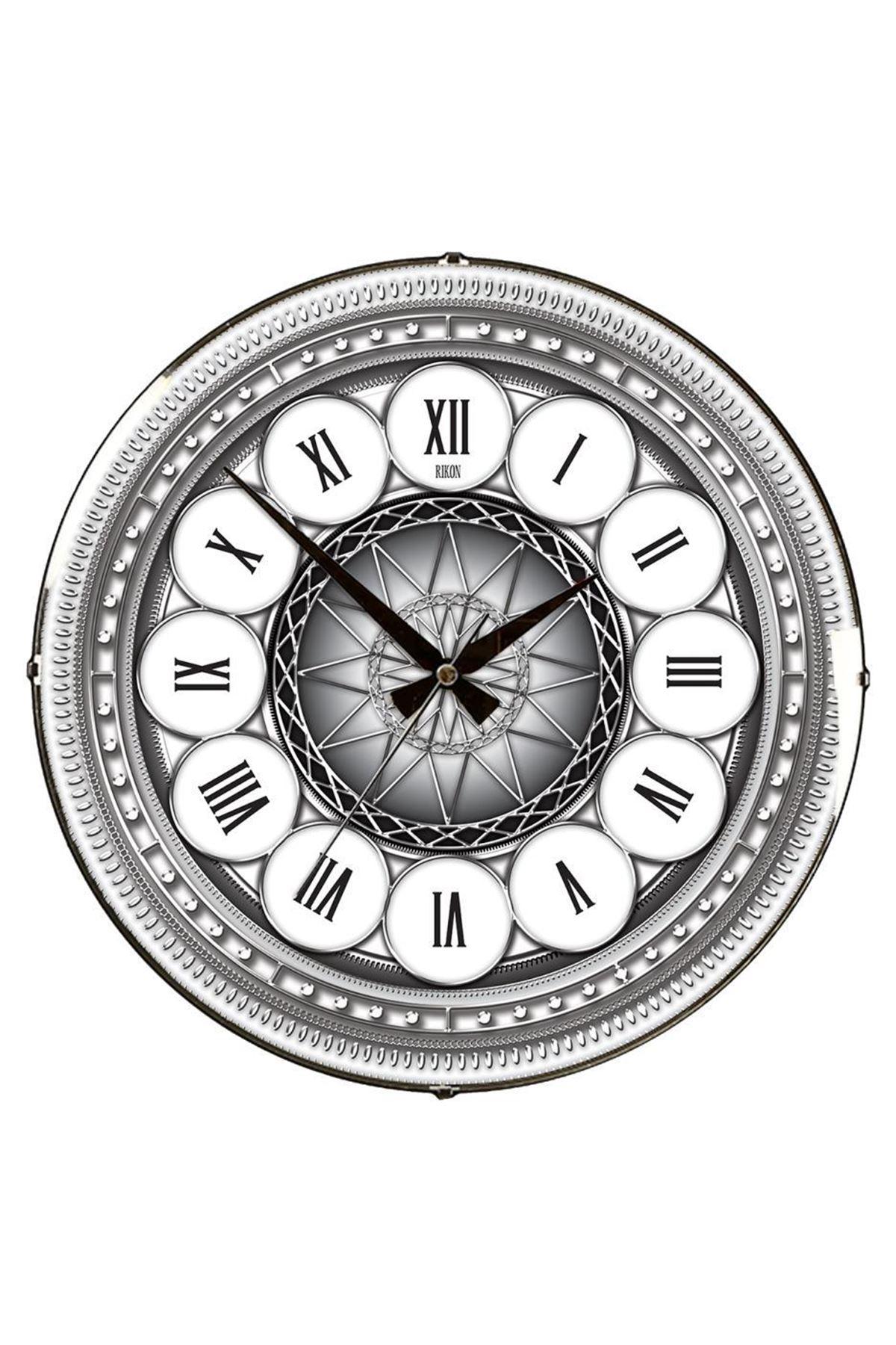 Rikon Gümüş Roma Rakamlı Dekoratif Bombe Camlı Duvar Saati