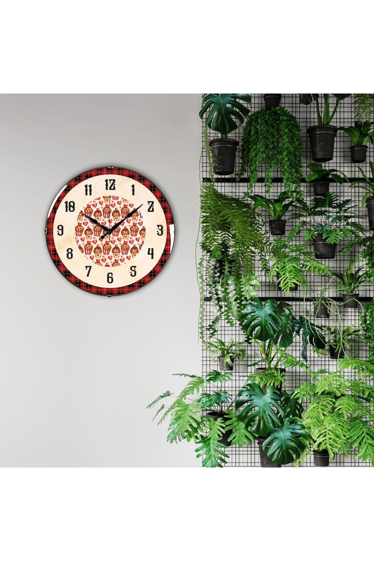 Rikon Ekoseli Cupcake Dekoratif Bombe Camlı Duvar Saati