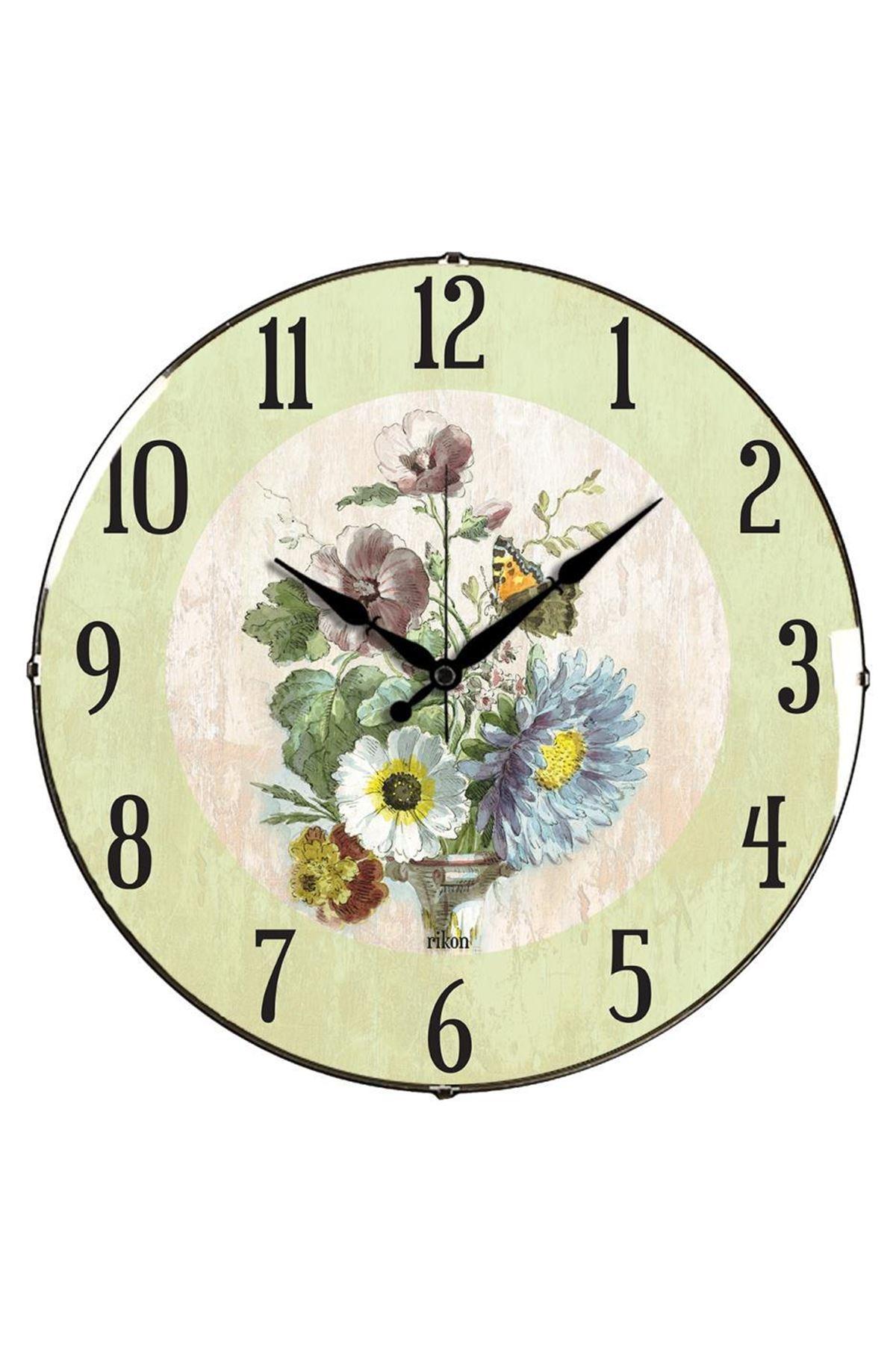Rikon Çiçek Desenli Dekoratif Bombe Camlı Duvar Saati