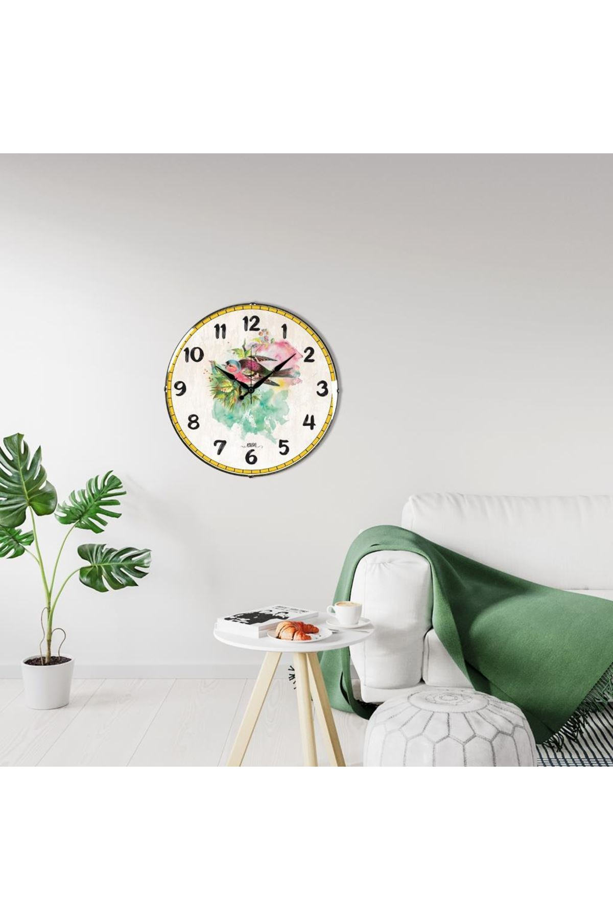 Rikon Rengarenk Kuş Dekoratif Bombe Camlı Duvar Saati