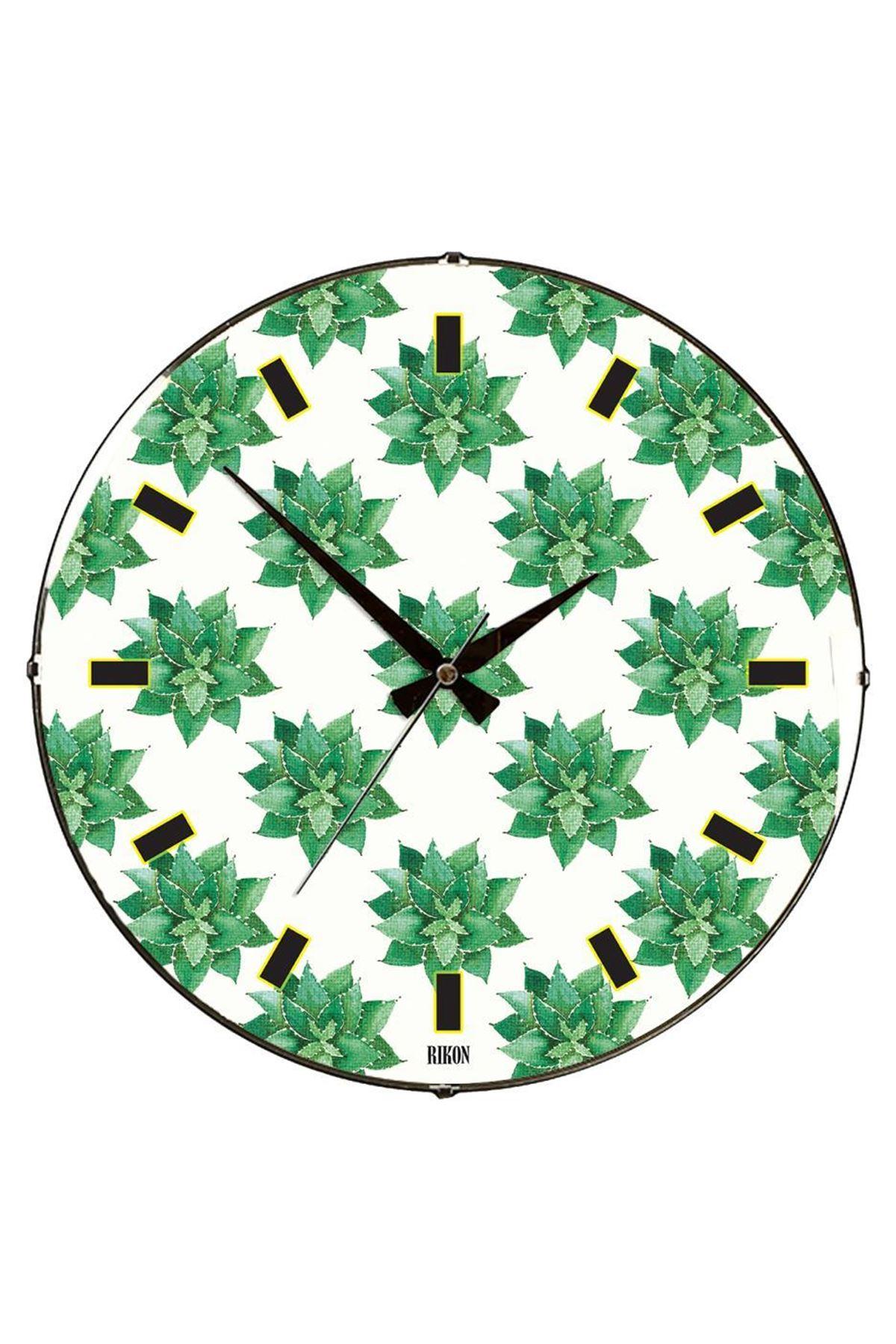 Rikon Yeşil Çiçekler Dekoratif Bombe Camlı Duvar Saati