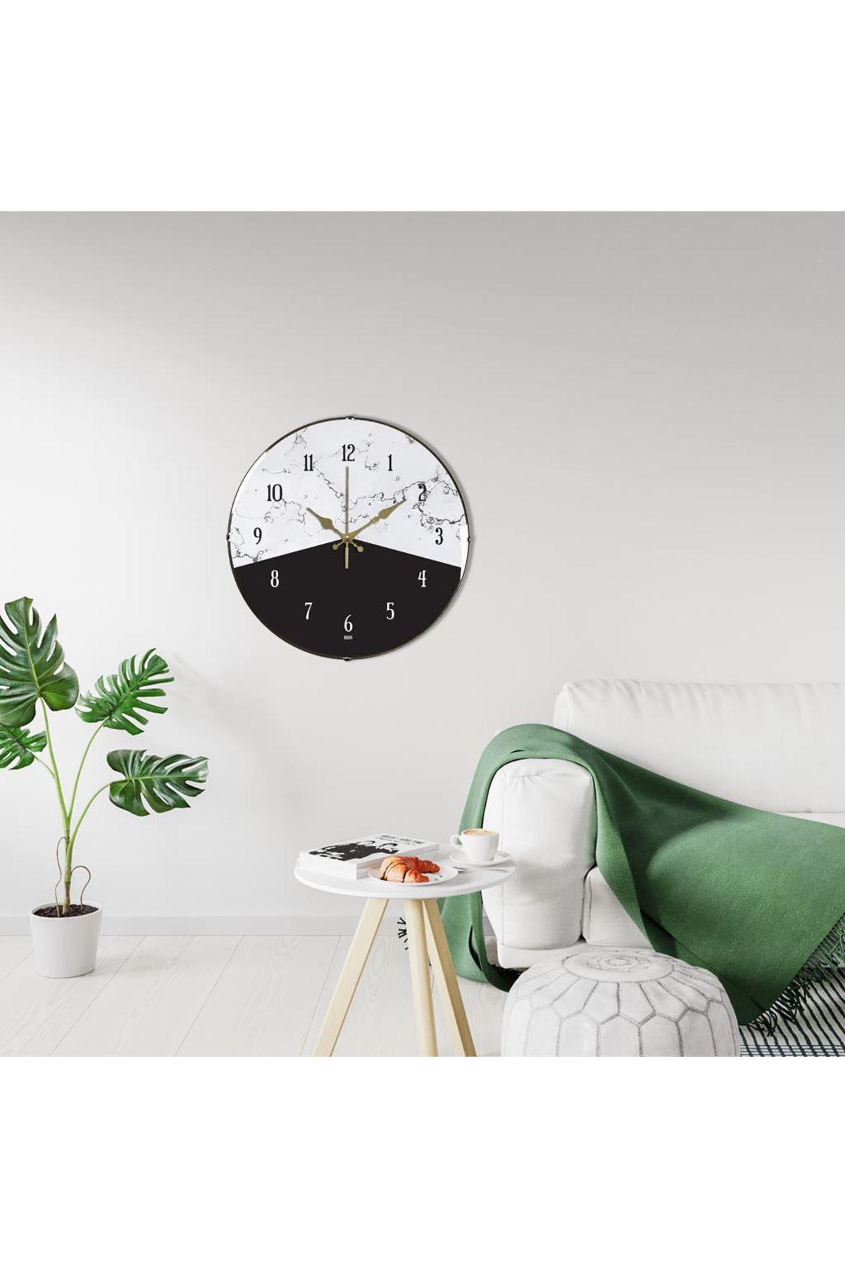 Rikon Siyah Beyaz Dekoratif Bombe Camlı Duvar Saati