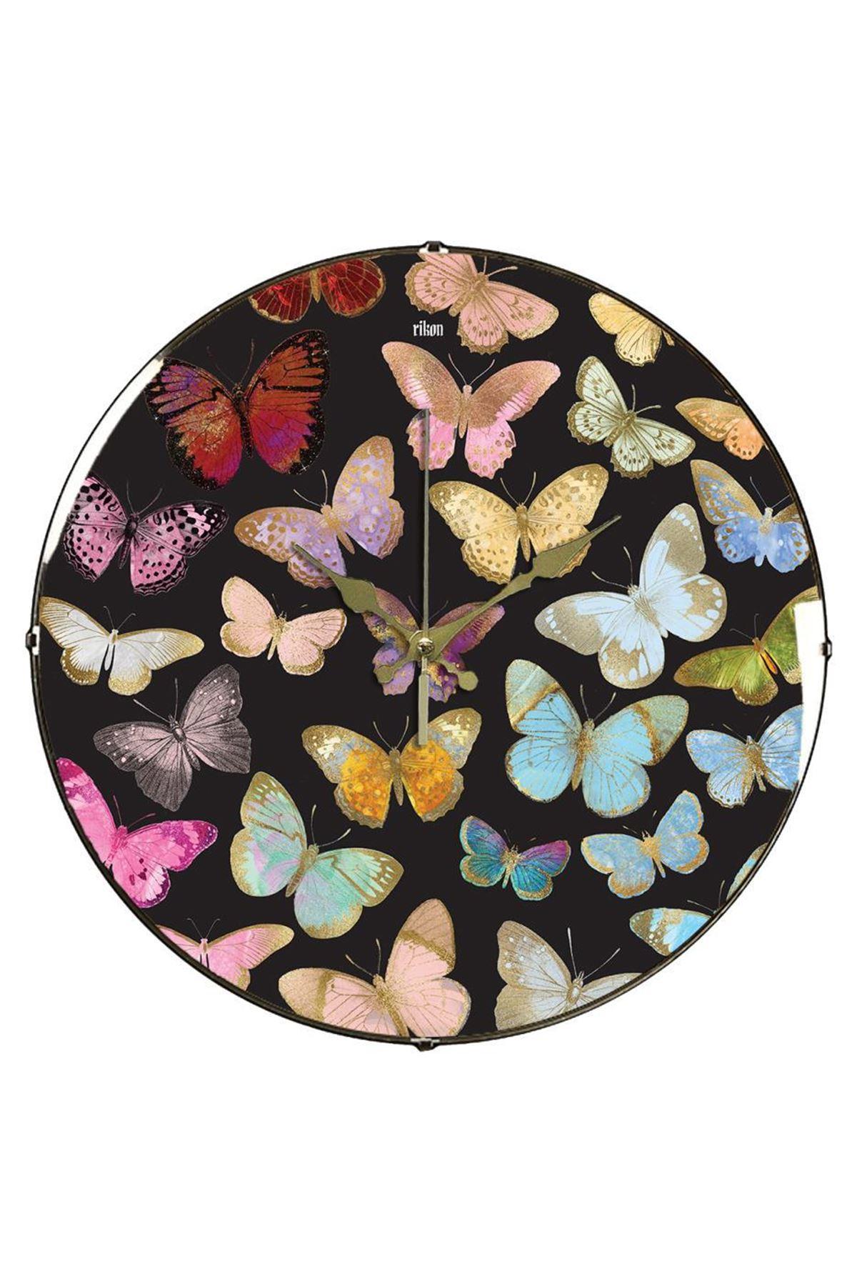 Rikon Butterfly Dekoratif Bombe Camlı Duvar Saati