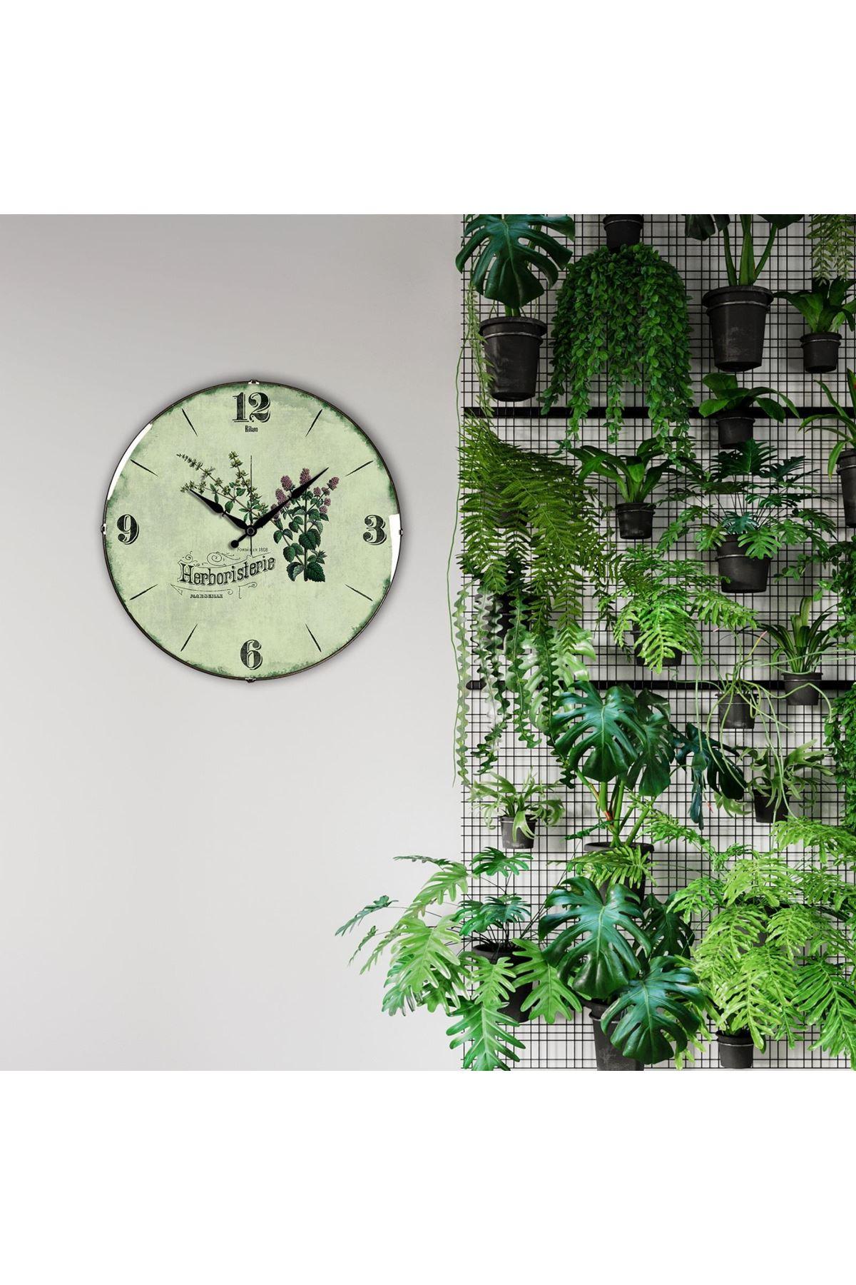 Rikon Çiçekli Dekoratif Bombe Camlı Duvar Saati