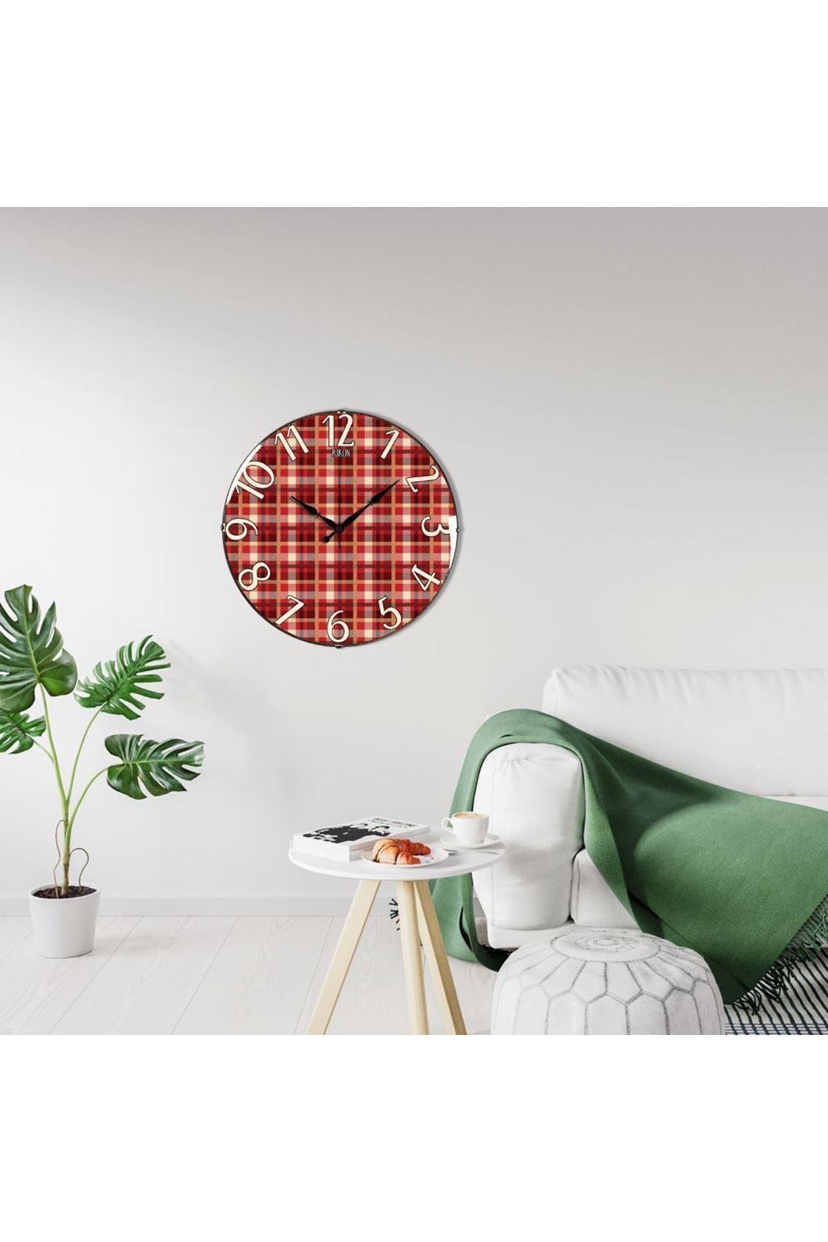 Rikon Kırmızı Ekoseli Dekoratif Bombe Camlı Duvar Saati