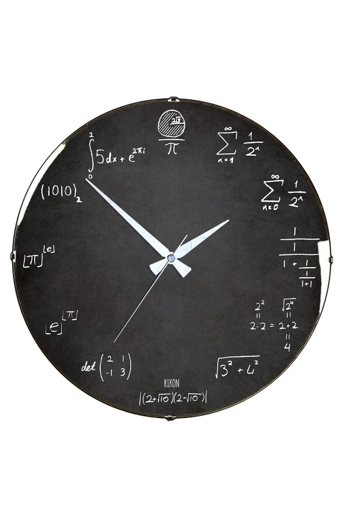 Rikon Matematik Formülleri Dekoratif Bombe Camlı Duvar Saatii
