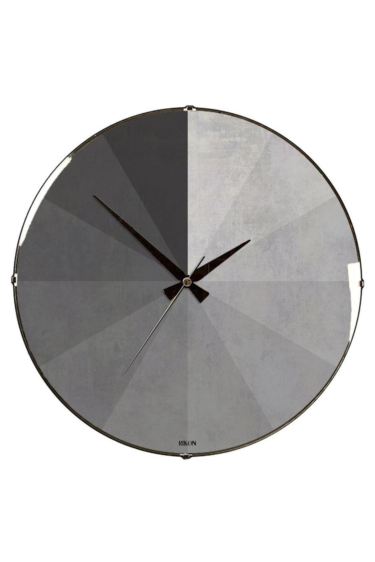 Rikon Gri Geometrik Desen Dekoratif Bombe Camlı Duvar Saati
