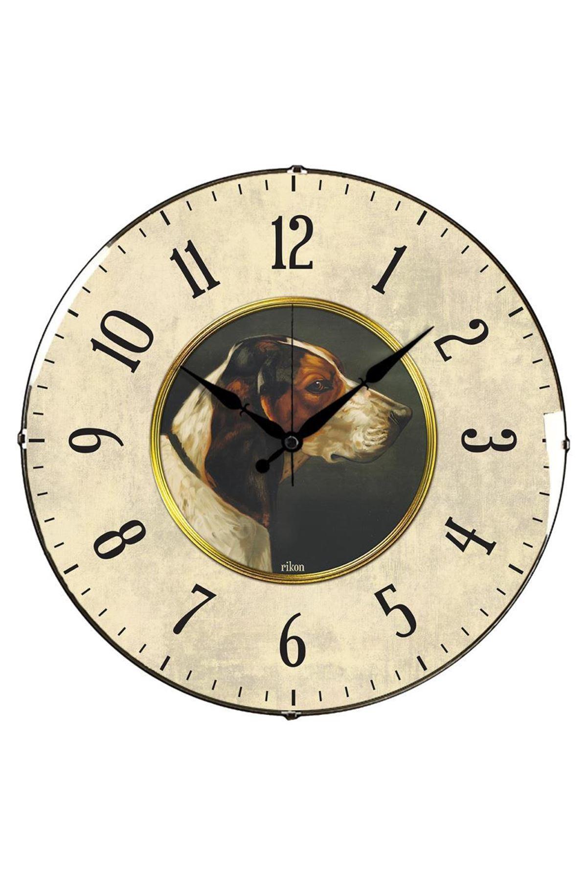 Rikon Köpek Desenli Dekoratif Bombe Camlı Duvar Saati