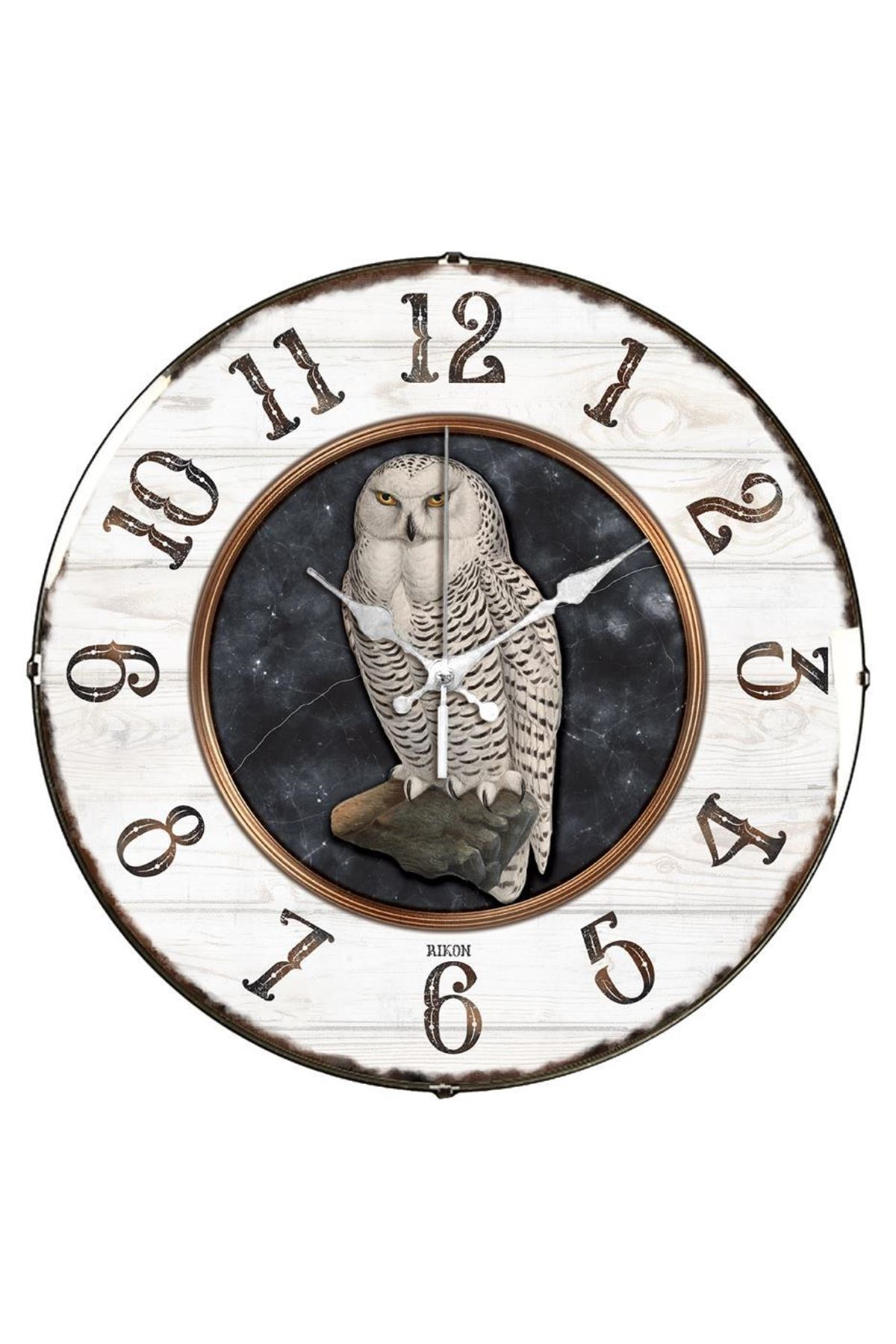 Rikon Baykuş Desenli Dekoratif Bombe Camlı Duvar Saati