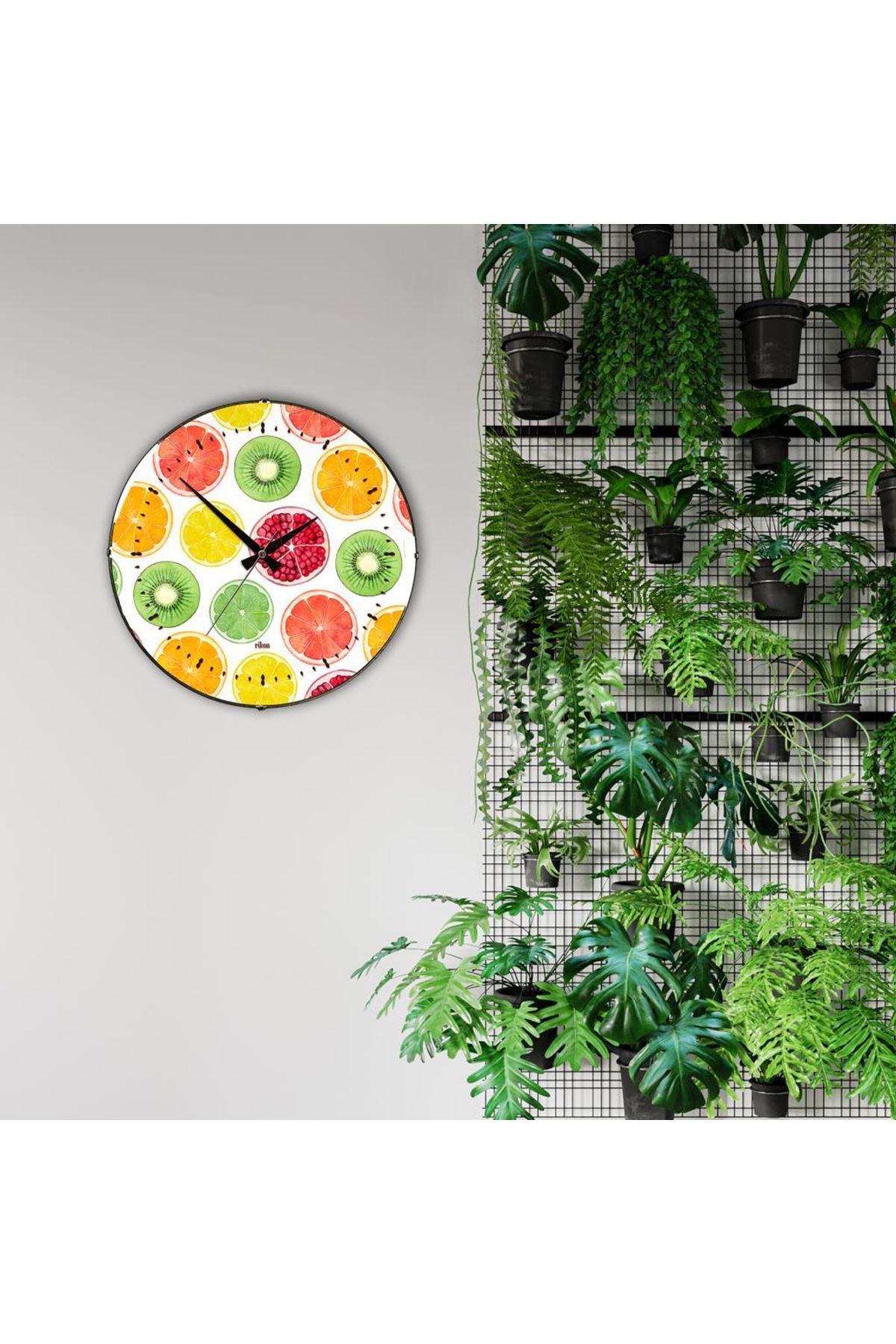 Rikon Renkli Meyveler Dekoratif Bombe Camlı Duvar Saati