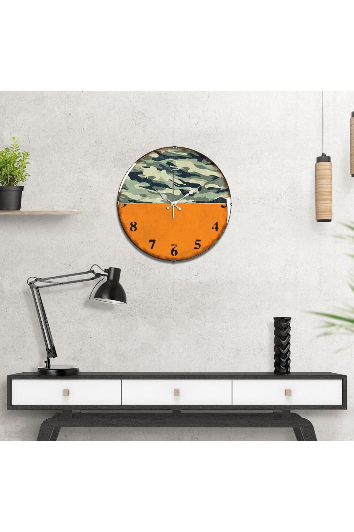 Rikon Orange Kamuflaj Dekoratif Bombe Camlı Duvar Saati