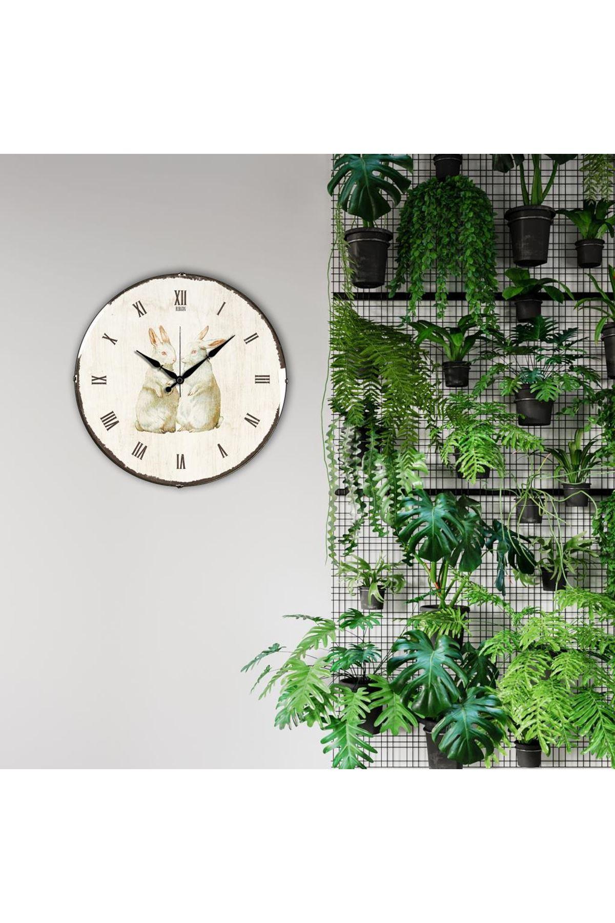 Rikon Tavşan Desenli Dekoratif Bombe Camlı Duvar Saati