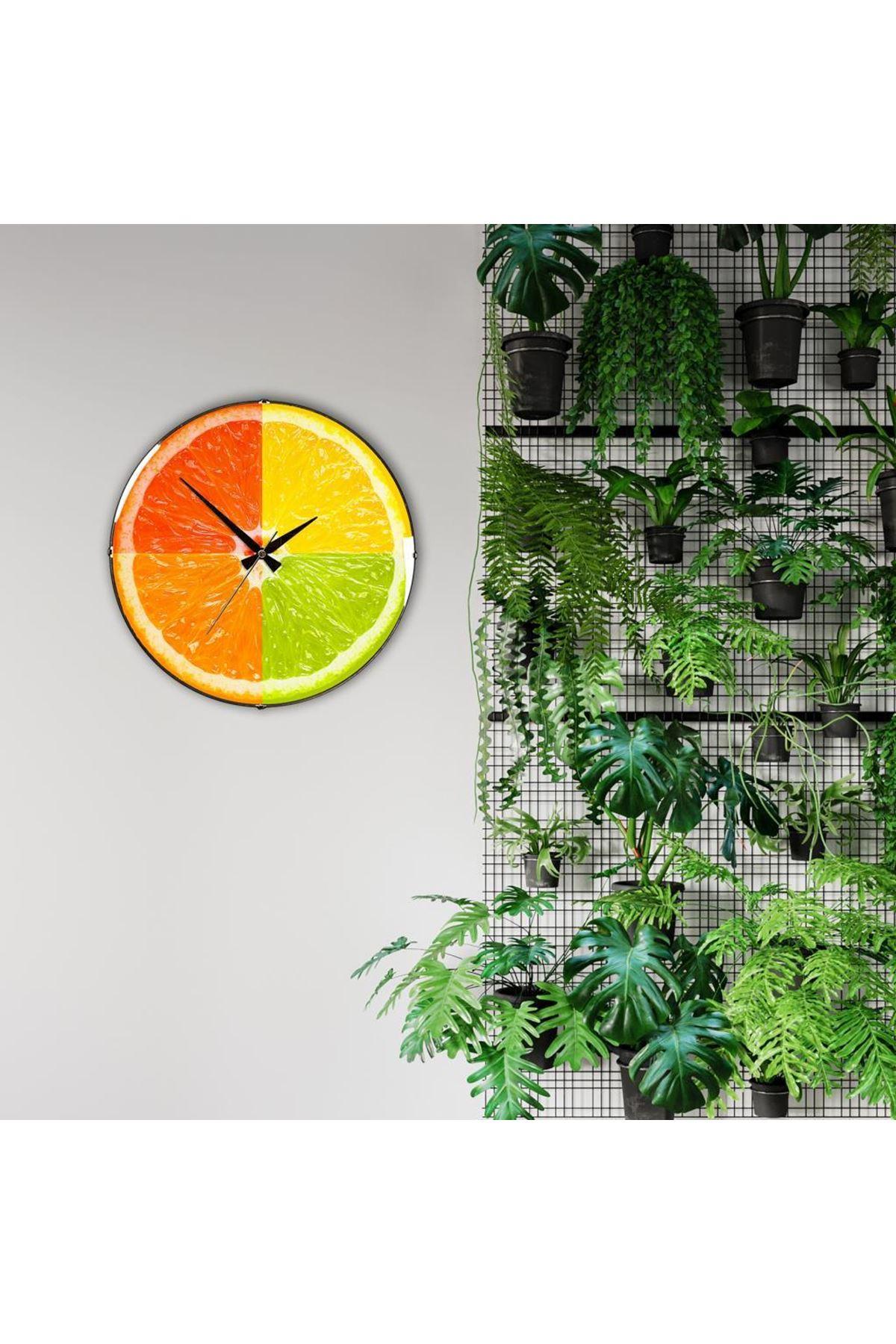 Rikon Renkli Portakal Dekoratif Bombe Camlı Duvar Saati