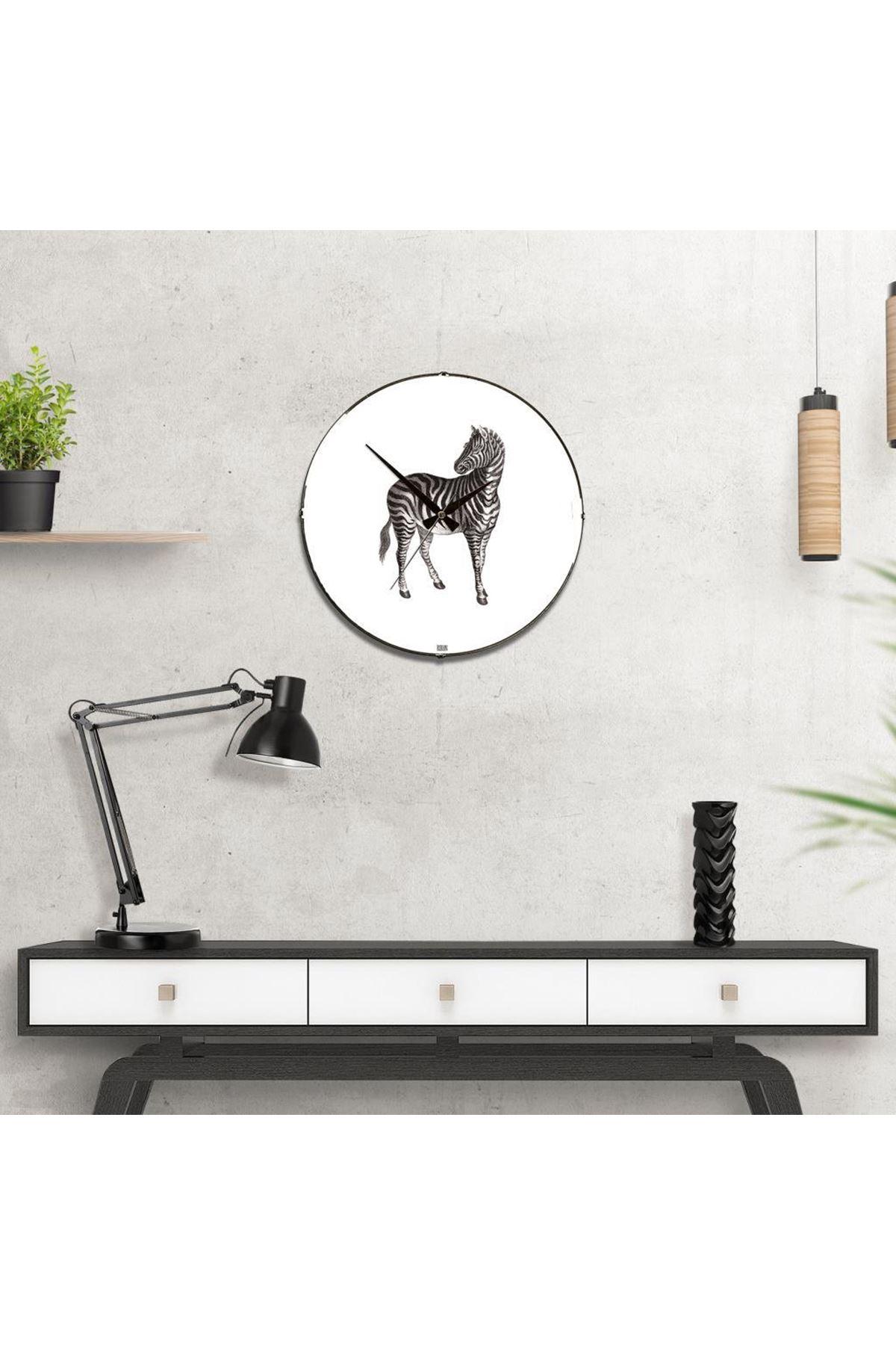 Rikon Zebra Desenli Dekoratif Bombe Camlı Duvar Saati
