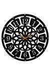 Rikon Büyük Ahşap Roma Rakamlı Black Dekorati Duvar Saati  50X50 Cm